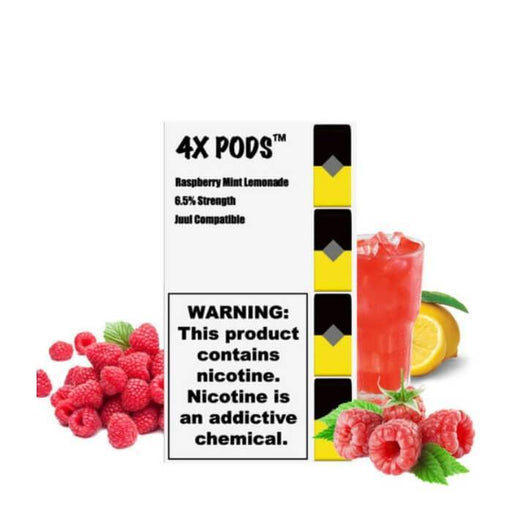 4X Pods Raspberry Mint Lemonade - Cheap Vape Juice - East Coast Vape Distribution