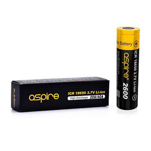 Aspire 18650 (2600 mAh) 20A 3.7V Li-ion Battery - Cheap Vape Juice - East Coast Vape Distribution