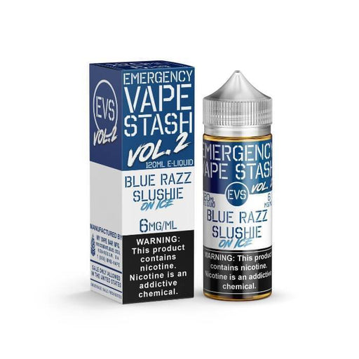 Blue Razz Slushie on Ice by Emergency Vape Stash E-Liquid - Cheap Vape Juice - East Coast Vape Distribution