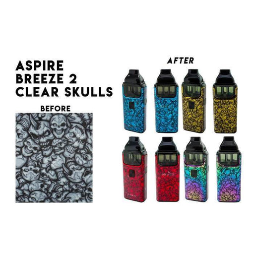 VCG Aspire Breeze 2 Wraps: Clear Skulls - Cheap Vape Juice - East Coast Vape Distribution