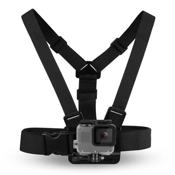 Chest Mount med 3-veis fleksibelt feste + bag - Brystsele for GoPro Hero 8, 7, 6 5 4 3 2 1 og Session