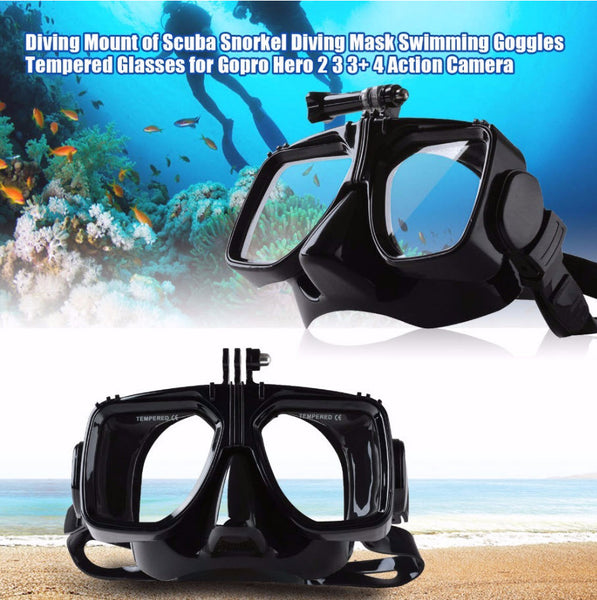 Dykkemaske / Diving mask for GoPro actionkamera - HERO 8, 7, 6, 5 4 3+ og Session
