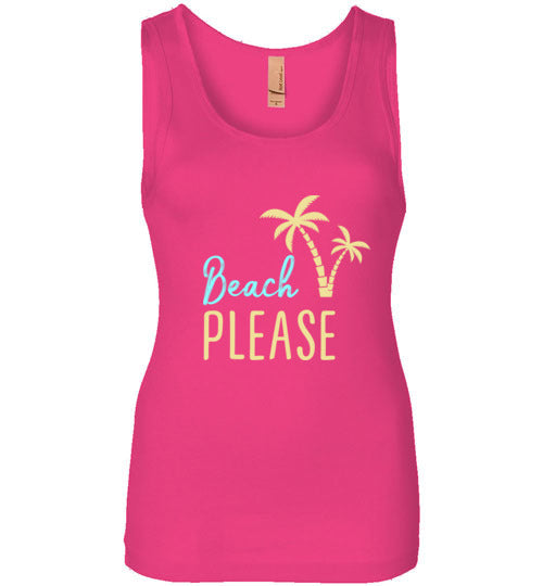 Beach PLEASE! Next Level Womens Jersey Tank