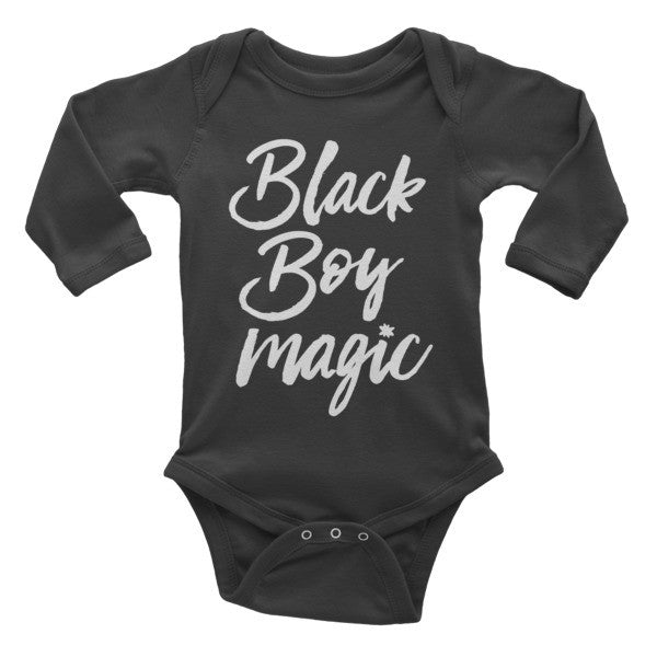 Black Boy Magic Infant Onesie (Long Sleeve)