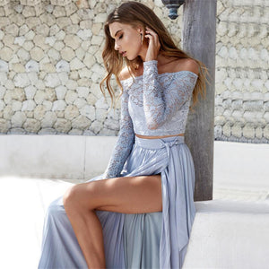 Long Sleeve Lace and Irregular High Slit Maxi Skirt