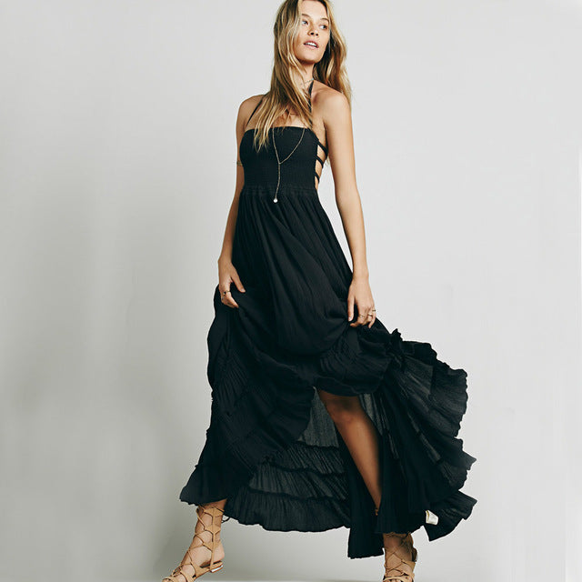 Ruffled Boho Maxi Dress