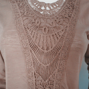 Embroidered Front Lace Long Sleeve