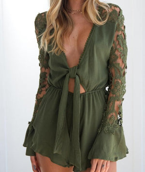 Leisure Lace Sleeve Deep Cut Romper