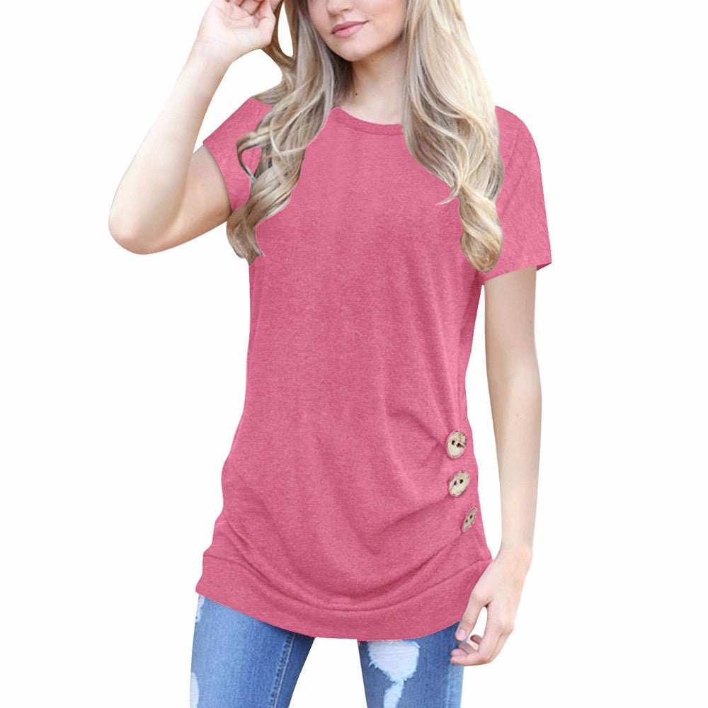 Women Short Sleeve Loose Button Trim Blouse Solid color Round Neck Tunic T-Shirt
