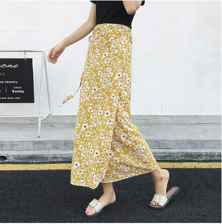 High Slit Floral Wrap Skirt