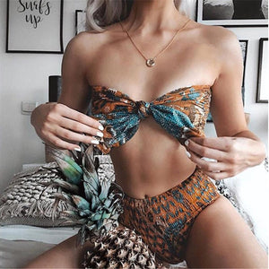 High Waist Rust and Turquoise Bikini Set