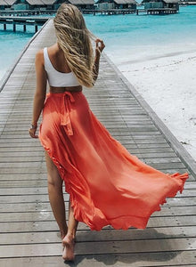 Irregular Ruffle Beach Maxi Skirt