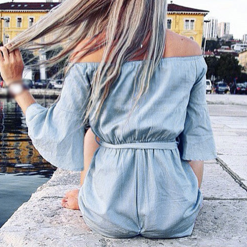 Off Shoulder Sash Waist Romper