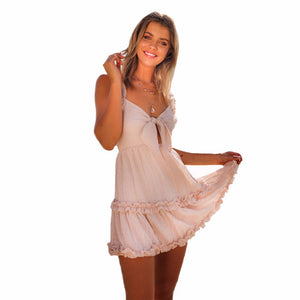 Ruffled Strap Boho Sundress