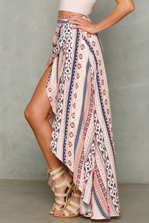 Tribal Split Maxi Skirt