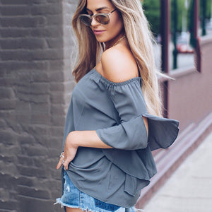 Ruffle Sleeve Off Shoulder Top