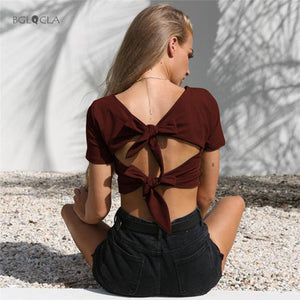 Double Tie Back T shirt Crop