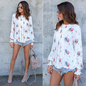 Summer Women Long Sleeve Chiffon Floral Casual T-Shirt Loose Blouse Tops