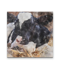 Holstein Cow Watercolor Canvas