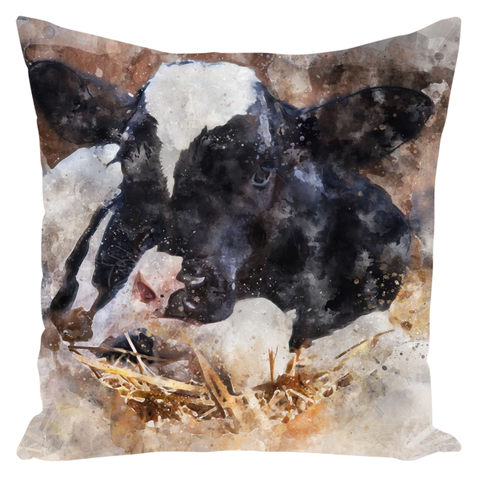 Watercolor Dairy Cow Throw Pillow