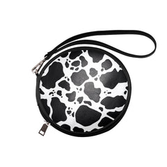 Cow Print Round Makeup Bag Front