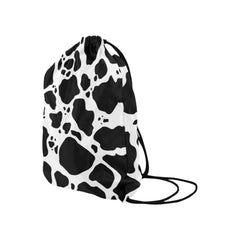 Cow Print Drawstring Bags Side View