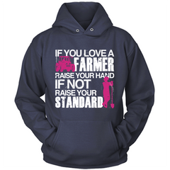 Farmer Raise Your Standards navy hoodie