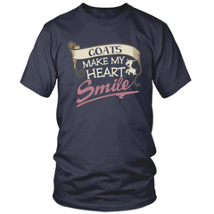 Goats Make My Heart Smile navy t shirt