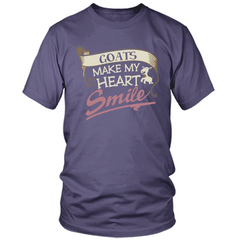 Goats Make My Heart Smile purple t shirt