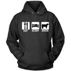 Eat Sleep Show Cattle black hoodie