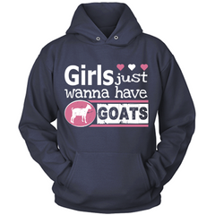 Girls Just Wanna Have Goats navy hoodie