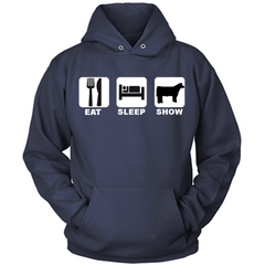 Eat Sleep Show Cattle navy hoodie
