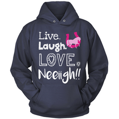 Live Laugh Love Neigh navy hoodie