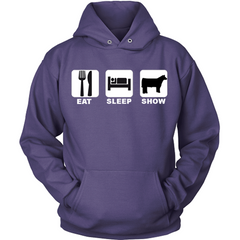 Eat Sleep Show Cattle purple hoodie