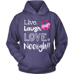 Live Laugh Love Neigh purple hoodie