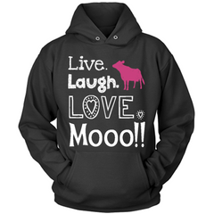 Live Laugh Love Moo black hoodie