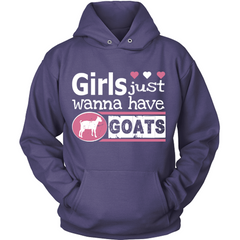 Girls Just Wanna Have Goats purple hoodie