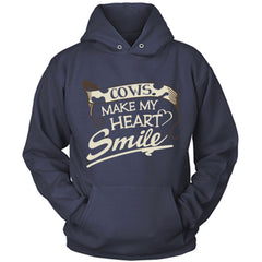 Cows Make My Heart Smile navy hoodie
