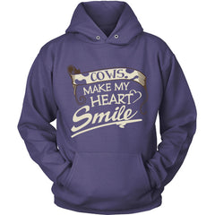 Cows Make My Heart Smile purple hoodie