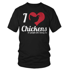 I love chickens black t shirt