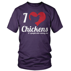 I love chickens purple t shirt
