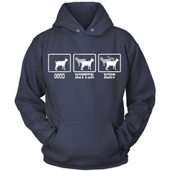 The More Goats The Better navy hoodie