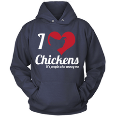 I love chickens blue hoodie