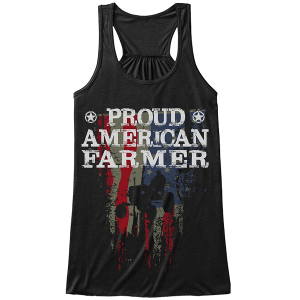 Proud American Farmer black tank top