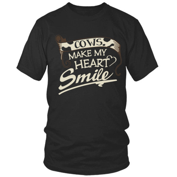 Cows Make My Heart Smile black t shirt