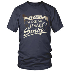 Cows Make My Heart Smile navy t shirt