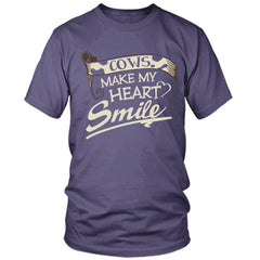 Cows Make My Heart Smile purple t shirt
