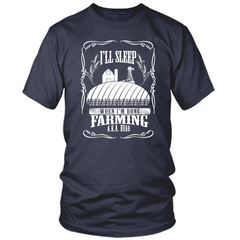 Farming Til I'm Done navy t shirt
