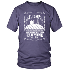 Farming Til I'm Done purple t shirt