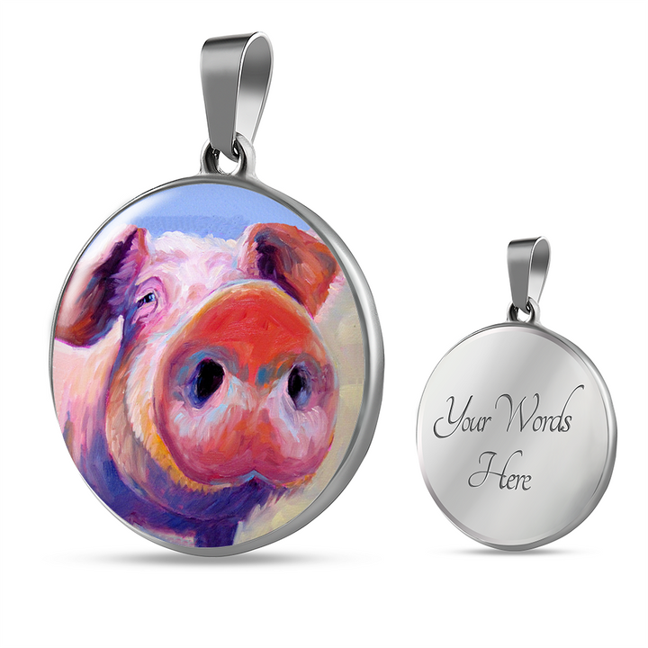 Colorful Pig Pendant Necklace